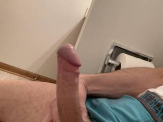 Here a side shot of my big cock. Who wants it?
