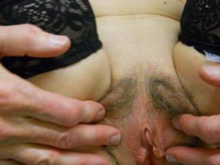 Wife spreads her hairy cunt and shows her pink lips and clit