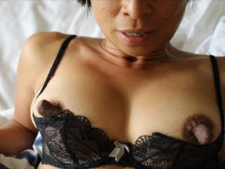 Tia showing off her big nipples