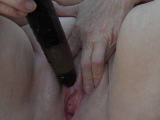 Mmmmmm!  I love how this variable speed, vibrating dildo feels on my clit!