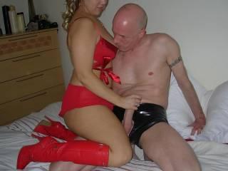 Then she rubbed his stiff cock xxx