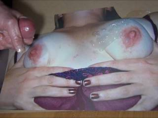 Jaking off my throbbing hard lubed cock and cumming on SweetT's Real tits before she got her new one's! Such tasty nipples!