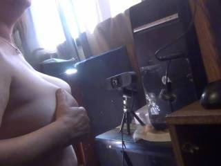 on the webcam giving a J.O.I, and getting cum