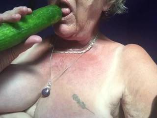 Fucking  pussy and ass with cumcumber