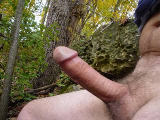 Enjoying being nude in the woods.