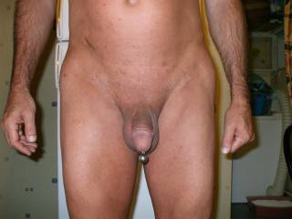 Taken last summer. View of bald body, pierced and shaved cock