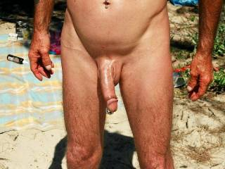 Hubbies beautiful oiled pierced cock. Would any one like to share with me? :-)