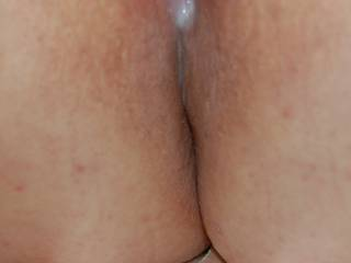 Lady cum in her Married Cunt.  Wife is trained to leave panties at home & I fingered her to orgasms at the front door then ate her to more orgasms.  Took a shot of her lady cum.  Well over 50 but needs no lube for sure...