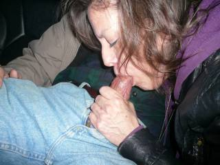 These 4 pictures are of the wife sucking the cock of a guy we met at a coffee shop, They were in the back seat as I drove us around the town, It was such a turn on!