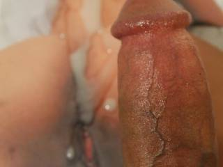 You can see her sweet pink cunt and body in the background covered in cum, I hopr you enjoy....my cock is still so hard