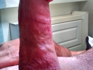 Gorgeous cock!!! Love to run my tongue all over that nice cock head before swallowing your cum!!!