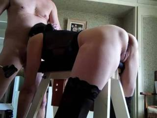 Bondage and big dildos pt 3 of 5 - Quite a long series with her tied to the bench, sucking, fucking, anal, big dildos, DP with the machine and quite a lot of A2M. Part 3 is more dildos, anal and A2M...