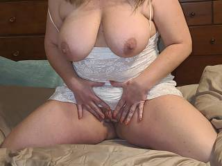When I think of the many beautiful, hard and thick cocks,,,I touch myself!! Let me watch you cum on my tits!