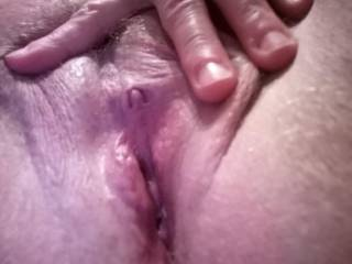 A close up of my wet pussy and swollen big clit