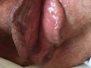 Cum poured out of me onto the tissues placed under me after we fucked