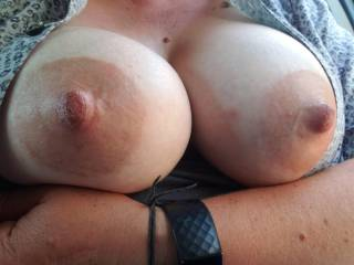Just got off work, super horny had to play with myself and my tits in the lot before driving home. Do you like to touch yourself in public?