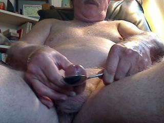 Masturbating into a spoon and measuring the ejaculate.