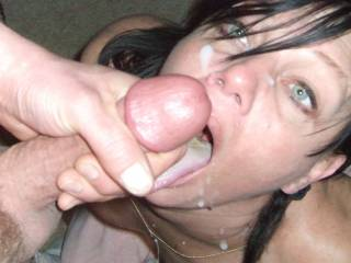 M LOVES a mans cum on her face and mouth... She begs for it. Multiple loads are her preference...