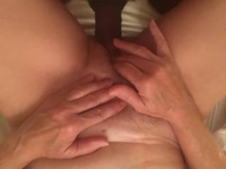 Givin her a huge load of hot cum deep inside that lovely bush