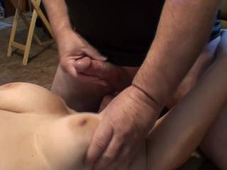 Had a few requests for this video with the sound on so here you go. GF sucking my balls while I stroke myself and play with those big soft tits. End up giving her a nice Pearl Necklace as you can see. Do you want to clean her up??