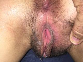 Showing off that sweet cum filled pussy. Any hot hung guys want seconds?