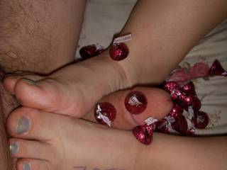 Jen has those sexy feet wrapped around my dick. Now we just need another lady to come and eat the chocolate