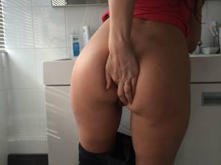 I love to grind my hard cock against you while i watch your horny face in the mirror as i feel you all over