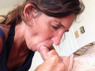 I'd love to feel her hot lips on my hard cock right now.