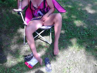 i love to show off my body camping fun love getting my pussy filled  cum pound me in my the tent
