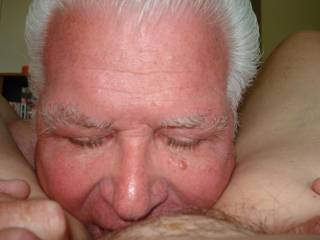 Licking and tasting her old, sweet pussy. She loves her pussy sucked.