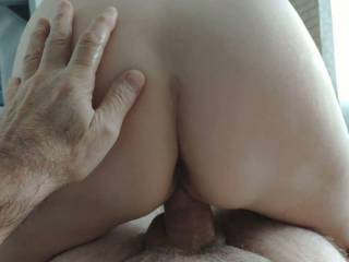 I love to get fucked in this Position. To watch her Asshole makes me even hornier. During this slow fuck she makes me cum 2 times! She may be 60 Years old, but I love to Fuck her every Day!