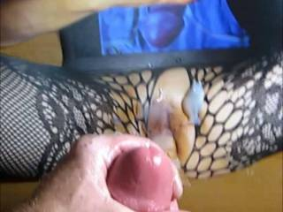 Jacking off my throbbing rock hard cock and cumming on nor100's dildo fucked tasty pussy tribute she made me!