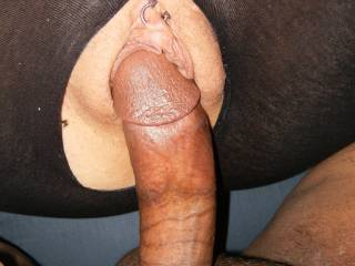 Beautiful pic of that nice, thick, black cock getting ready to stretch that tight, little pussy.  Love the interaccial action and the sexy piercing too.  Very hot pic.