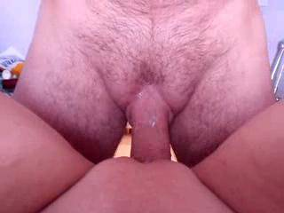 Getting fucked by by a nice hard cock, look at all my pussy cum on his big hard cock yummy.