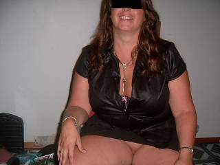 dressed for our swingers party...she didnt wear it long once we got there...many hands went up the skirt in a short period of time :)