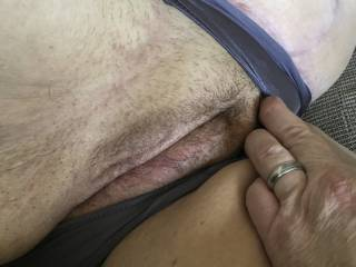 Love to rub her through her panties until they get wet and stained - she wants other see other men with her worn panties