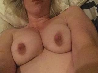 Wishing someone would suck on these titties....talking dirty to me while telling me what you\'re gonna do next....Do tell  💋