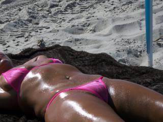 Enjoying the sun and sand.