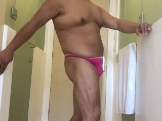 In my hotel room pink thong