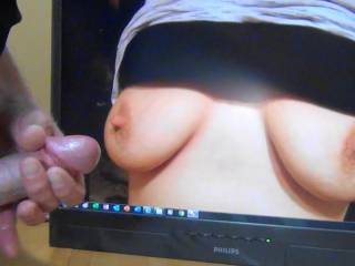 Jacking off my hard cock to sexycouple36's perfect tits! Wish I was rubbing my throbbing cumming cock all over her tasty nipples!