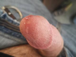 Sooooo horny... Precum leaking out, getting ready for the real thing!