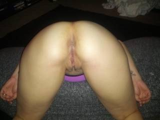 OMG you have one very sweet sexy asshole & pink pussy lips!!! My cock is dripping precum just looking at your backside!!!