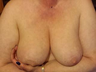 Would you like to play with my cock and make me cum all over your lovely tits?