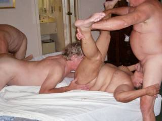 Us at a party. Her sucking cock and getting eaten and him about to taste some sweet pussy