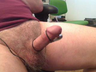 After work, a little cock flexing; then cock contractions and ejaculation