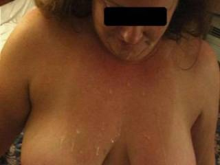 My wife with cum on her tits from a friend of ours