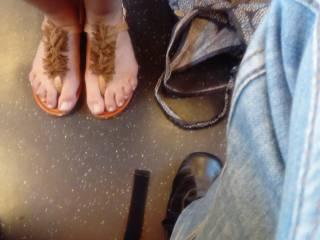Girl feet in train
