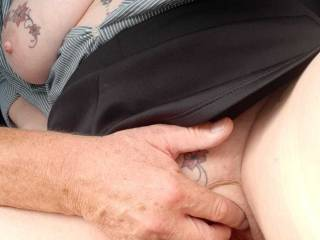 Playing with Sally\'s clit in a car park.