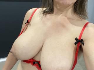 Sending hubby a pic of my new bra