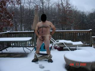 What a great pic ...would luv to suck the snow off that dick of yours ....Yummy